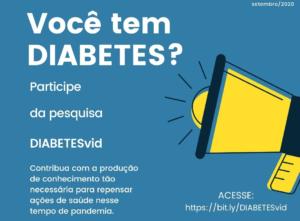 Pesquisa DIABETESvid irá investigar o autocuidado em diabetes e resiliência na pandemia de COVID-19 pelos brasileiros